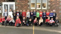 photo of class 4 in christmas jumpers